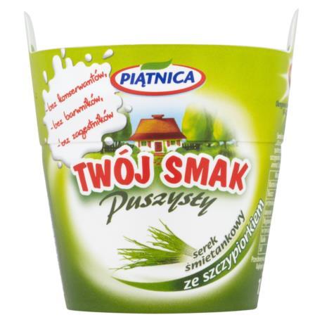 Piątnica Twój Smak Puszysty Serek śmieta nkowy ze szczypiorkiem 150 g