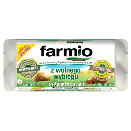 Farmio Jaja z wolnego wybiegu od kur kar mionych paszą bez GMO L 10 sztuk