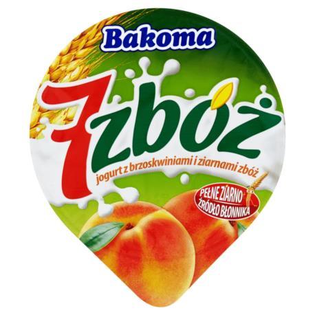Bakoma 7 zbóż Jogurt z brzoskwiniami i z iarnami zbóż 150 g