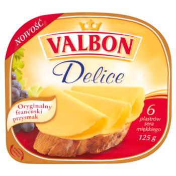 Valbon Delice Ser miękki w plasterkach 1 25 g