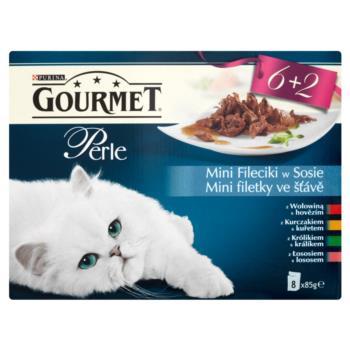 Gourmet Perle Mini fileciki w sosie Pełn oporcjowa karma 680 g (8 sztuk)