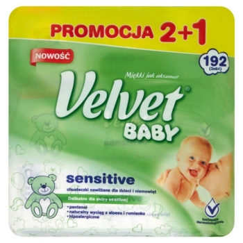 Velvet Baby Sensitive Chusteczki nawilża ne dla dzieci i niemowląt 3 x 64 sztuki
