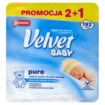 Velvet Baby Pure Chusteczki nawilżane dl a dzieci i niemowląt 3 x 64 sztuki