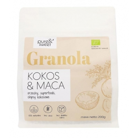 GRANOLA KOKOS&MACA BEZGLUTENOWA BIO 200  g - PURE&SWEET